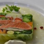 ピッツェリア ピッキ - 20種以上の農園野菜とサーモンのテリーヌ 950円
