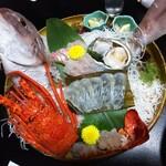 洲本温泉 海月館 - 料理写真:刺身盛(伊勢海老、真鯛、ヒラメの昆布〆、アワビ)