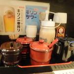 四国屋 - カウンターの調味料