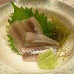 15736543 - 2012.11 シシャモの刺身、珍しいので頼んでみましたが、シシャモ1尾で930円:大汗