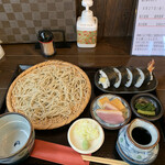 蕎屋 陽楽 - 料理写真:天むすとざる蕎麦のセット ¥1180(税込)