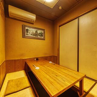 大小の完全個室が充実◎憩いの和空間でおくつろぎください