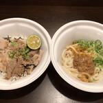 なか卯 - うま塩豚角煮丼並盛&冷やし坦々うどんセット890円