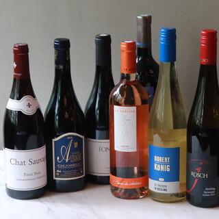 ワイン大使であるオーナーシェフが買い付けをした自社輸入ワイン