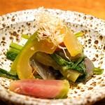 157488851 - お通し  旬の有機野菜と大豆のおひたし