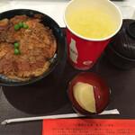 豚丼のぶたはげ - 料理写真:豚丼(肉3枚)とドリンクのセット