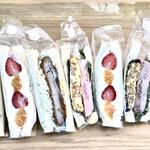 ベーカリー&カフェ プラスワン  - 料理写真:左からたまごサラダ、イチゴ&みかん、大葉おろしトンカツ、ごま油香るハム&たまご