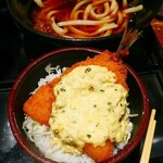 うどん料理 千 - Aセット冷うどん(=ころ&週替わりミニ丼)税込900円