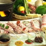 月の坊 - 新鮮野菜を使った豚巻串焼き各種