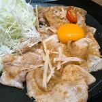 しょうが焼きBaKa - 桃豚上ロース生姜焼き 奥久慈卵の卵黄添え 小豚盛り