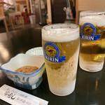 常寿し - ドリンク写真:ビールとお通しのイカの塩辛。