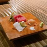 食幹 渋谷 - お刺身3種盛り合わせ(まぐろ、いか、赤貝)