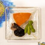 うを徳 - 2021.8 打木赤皮甘栗かぼちゃ、大阪湾鰯有馬煮、鮑入り海苔佃煮、群馬枝豆「味匠」
