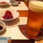 酒肴屋 いっこう - かきのもととイクラ、なめこの酢の物とうすはりグラスのビール