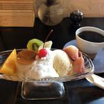 喫茶 つばら つばら - プリンアラモードセット