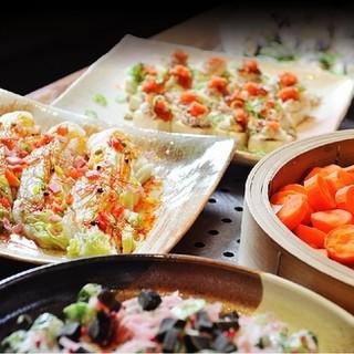 新鮮な季節の野菜を使用した創作料理!