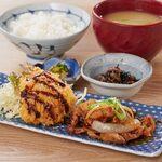 生姜焼き・アジフライ&ローストビーフサラダ