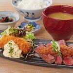 牛ステーキ・蟹クリームコロッケ&ローストビーフサラダ