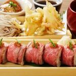 神戸牛の肉寿司とかき揚げせいろ蕎麦を愉しむ御膳