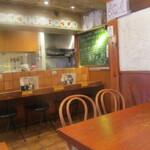 キッチン・オバサン - 右手黒板には、ほんわかとしたメッセージが。