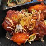 焼肉韓国料理 MUGEN - 此処のヤムニョンチキンはややピリ辛のヤムニョムチキンなんでご飯が進みますよ。