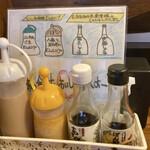 とんかつ専門店とん - 自家製ドレッシングに、黒澤醤油店の醤油とポン酢