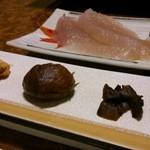 15800962 - 鯉の子、栗渋皮煮、香茸佃煮、さしみこんにゃく