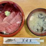 栗崎屋 - 料理写真:「まぐろ三食丼」@2800+「しじみ汁」@250
