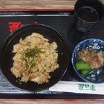 大衆食堂 半田屋 - とりめし+おくら+ほうじ茶