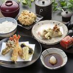 天ぷら つな八 - 季節ランチ  はもと秋野菜定食