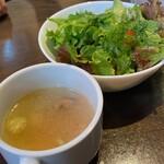 SALVATORE CUOMO & BAR - ハラミステーキのサラダとスープ