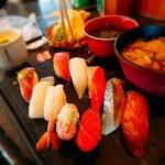 北々亭 - 彩御膳(¥990)。 某居酒屋さんの寿司御膳よりお得なセットがあるとは驚き。