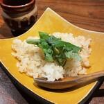 創作鉄板 粉者 - 赤出汁のお味噌汁 炊き込みガーリックライス