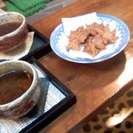 15817325 - 黒豆茶とジャスミンティーともみじの天ぷら