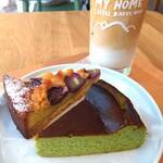 My Home Coffee, Bakes, Beer - ■抹茶のチーズケーキ       ■巨峰のタルト       ■アイスラテ