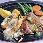 ファミリーグルメレストラン てんだあ亭 - 料理写真:サーモンフライとステーキ