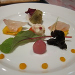 舞桜 - 前菜鯛と柿など季節感たっぷり