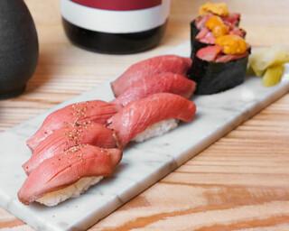 バル肉寿司 - 【テイクアウト】牛3種盛り合わせ(馬肉赤身×3・馬肉えんがわ×3・馬肉極上赤身×3)