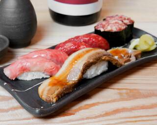 バル肉寿司 - 【テイクアウト】肉穴子と肉トロ3種盛り合わせ(豚肉の肉穴子×1・牛肉大トロ×2・馬肉中トロ×2・馬肉ネギトロ×2)