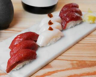バル肉寿司 - 【テイクアウト】馬3種盛り合わせ(馬肉赤身×3・馬肉えんがわ×3・馬肉極上赤身×3)