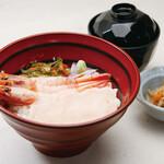 京町家 - 白海老と甘海老の紅白丼