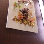 カフェスイーツ ムッシュ マキノ - ☆落ち葉と栗のイガイガの壁のデコレーション☆