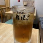 もつ焼 稲垣 - 中ジョッキーに入ったお茶(無料)