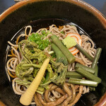 そば処 くるみ - 料理写真:冷やし山菜蕎麦 五箇山豆腐付き 1,100円