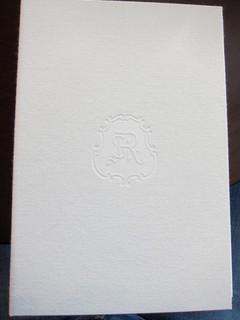 セント レジス ホテル - メニューブックの表紙