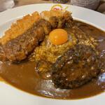 MAJI CURRY - ■手ごねハンバーグカレー+こだわり豚カツ+生卵¥1,230