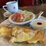 ル・モンド - 料理写真:フレンチトーストモーニング  サラダ ウインナー ヨーグルト コーヒー