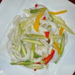上海料理 寒舎 - もんごうイカとアスパラの塩炒め