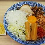 NOROSHI - 混ぜそばの300㌘(¥980)、玉葱増し(¥100)、にんにく追加(¥109、合計が¥1090