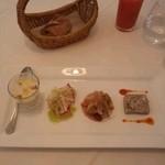 オ・プレチェネッラ - 前菜4種、蕪クリームスープ、ホタテカルパッチョ、サワラロースト、根菜のテリーヌ
